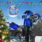 Мальчик и снегоход коллаж