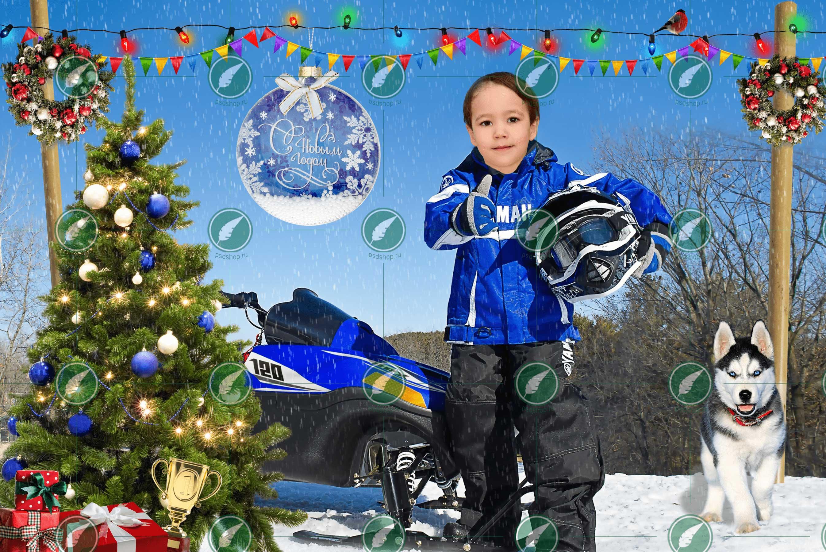 Мальчик и снегоход