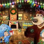 Маша и Медведь в новый год коллаж